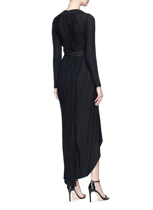 Back View - Click To Enlarge - Galvan London - Mock wrap plissé pleated dress