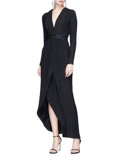 Galvan London Mock wrap plissé pleated dress