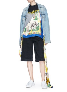 DRY CLEAN ONLY Extended sash graphic print mixed panel T-shirt