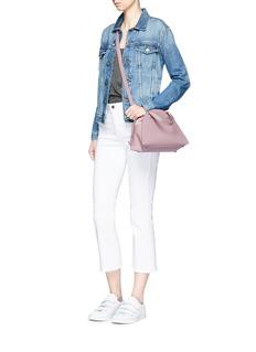 Meli Melo 'Giada' mini half moon leather and suede drawstring bag