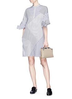 VICTORIA, VICTORIA BECKHAM Bow sleeve stripe patchwork cotton shirt dress
