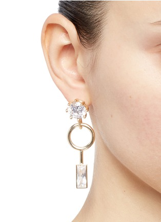 Figure View - Click To Enlarge - Eddie Borgo - Cubic zirconia geometric drop earrings