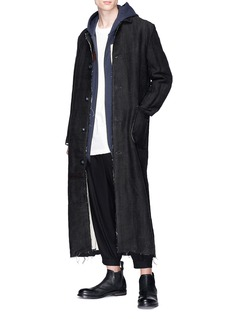 By Walid Raw edge linen twill coat