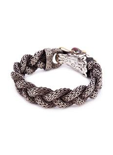 John Hardy Ruby 18k yellow gold silver braided naga chain bracelet