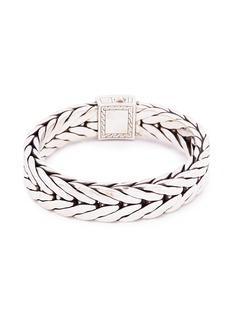 John Hardy Onyx silver weave effect link chain bracelet