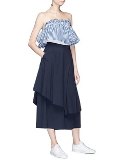 EDIT x Lane Crawford Gingham check off-shoulder poplin top