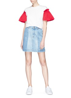 EDIT x Lane Crawford Ruffle satin sleeve T-shirt