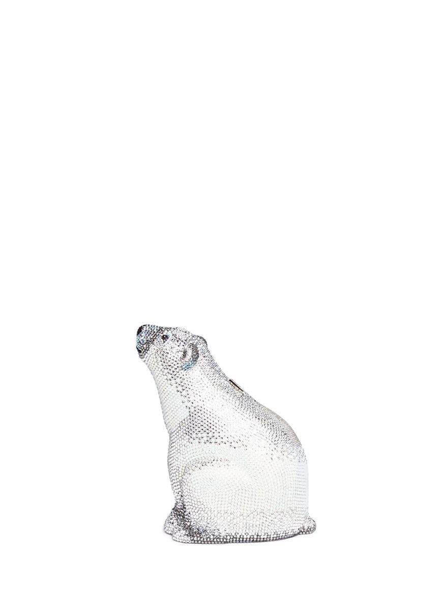 'Polar Bear' crystal pavé minaudière