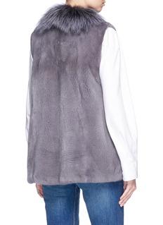 Isla 'Class' fox collar mink fur short gilet