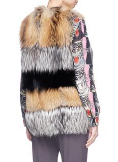 LECOTHIA Colourblock fox and rabbit fur gilet