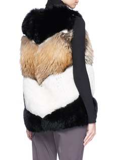 LECOTHIA Colourblocked quilted fox and rabbit fur gilet