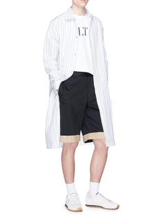 The World Is Your Oyster Contrast cuff twill shorts