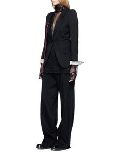 ANN DEMEULEMEESTER Contrast velvet sash twill blazer