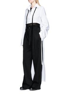ANN DEMEULEMEESTER Velvet sash extended back hem poplin shirt
