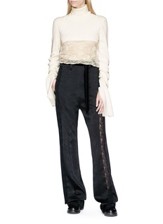 ANN DEMEULEMEESTER Lace trim satin wide leg pants