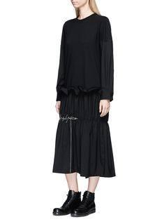 Yohji Yamamoto Logo embroidered suiting panel T-shirt dress