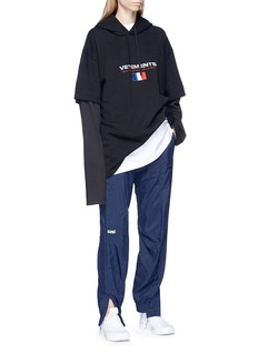 Vetements Sleeve underlay logo embroidered oversized hoodie