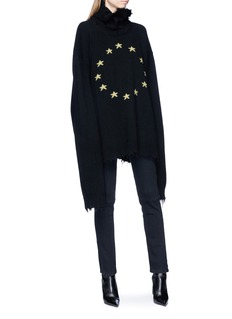 Vetements Star embroidered frayed oversized sweater