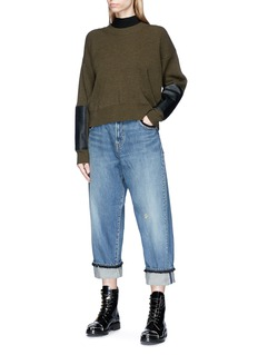 UNDERCOVER Bee embroidered wide leg denim pants