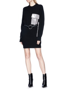Alyx Silk patch belted wool sweater