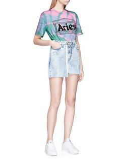 Aries Logo print tie dye effect T-shirt