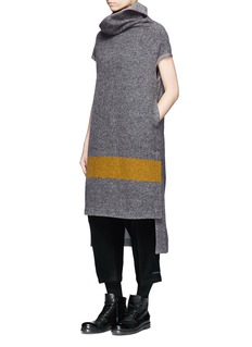 Yohji Yamamoto Colourblock high collar wool melton high-low dress
