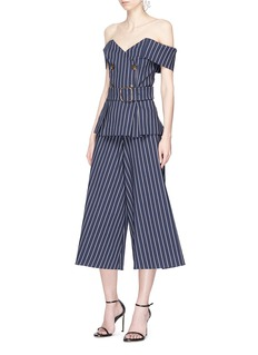 Nicholas Belted stripe double breasted off-shoulder twill top