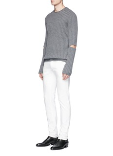 Helmut Lang Cutout elbow wool rib knit sweater