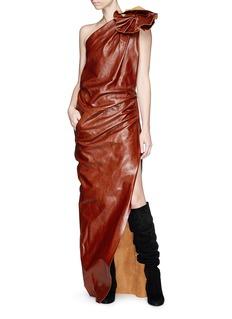 Saint Laurent Floral one-shoulder leather gown