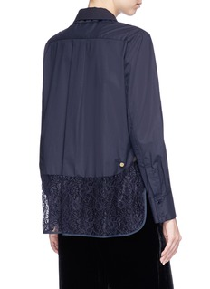 Muveil Lace panel daisy embellished shirt