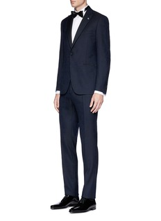 Lardini Mix check jacquard wool twill suit