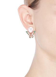 Anabela Chan 'Butterfly' freshwater pearl 18k rose gold earrings
