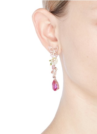 Figure View - Click To Enlarge - Anabela Chan - 'Vine' sapphire drop 18k rose gold earrings