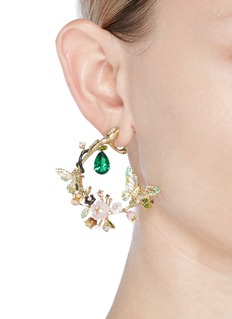 Anabela Chan 'Butterfly Garland' emerald 18k yellow gold statement earrings