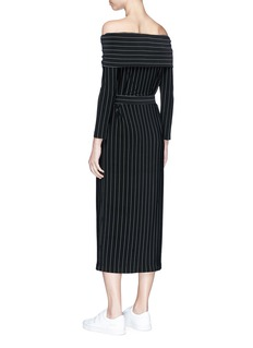 Norma Kamali 'Cowl Neck' belted pinstripe off-shoulder dress