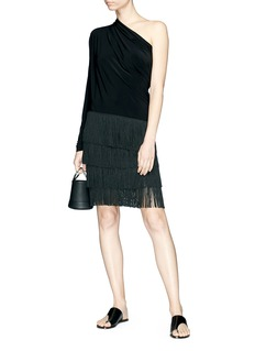 Norma Kamali 'Fringe All In One' jersey dress