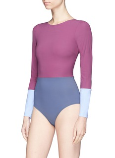Flagpole Swim 'Lela' colourblock long sleeve one-piece swimsuit