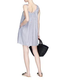 Araks 'Pip' asymmetric shirred neckline stripe mini dress