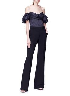 Caroline Constas 'Louisa' ruffle sleeve pinstripe off-shoulder twill top