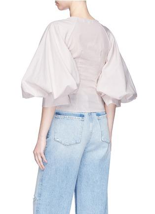 Back View - Click To Enlarge - Caroline Constas - 'Josie' puff sleeve stripe poplin blouse