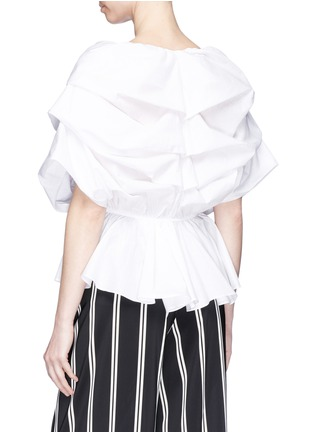 Back View - Click To Enlarge - Caroline Constas - 'Marcella' mock wrap poplin peplum top