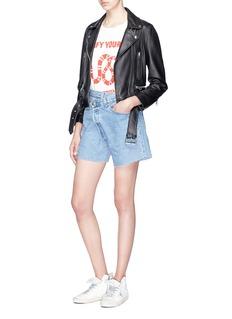R13 Asymmetric waist denim shorts
