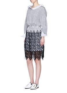 DaweiCat guipure lace stripe skirt