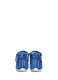 AKID KIDS Stone Plus Sign儿童款十字刺绣绒面真皮莫卡辛鞋