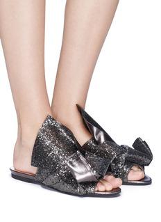 NO.21 Coarse glitter bow slide sandals