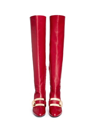 Front View - Click To Enlarge - Stella Luna - 'Stella XXL' turnlock buckle leather thigh high boots