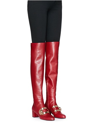 Figure View - Click To Enlarge - Stella Luna - 'Stella XXL' turnlock buckle leather thigh high boots