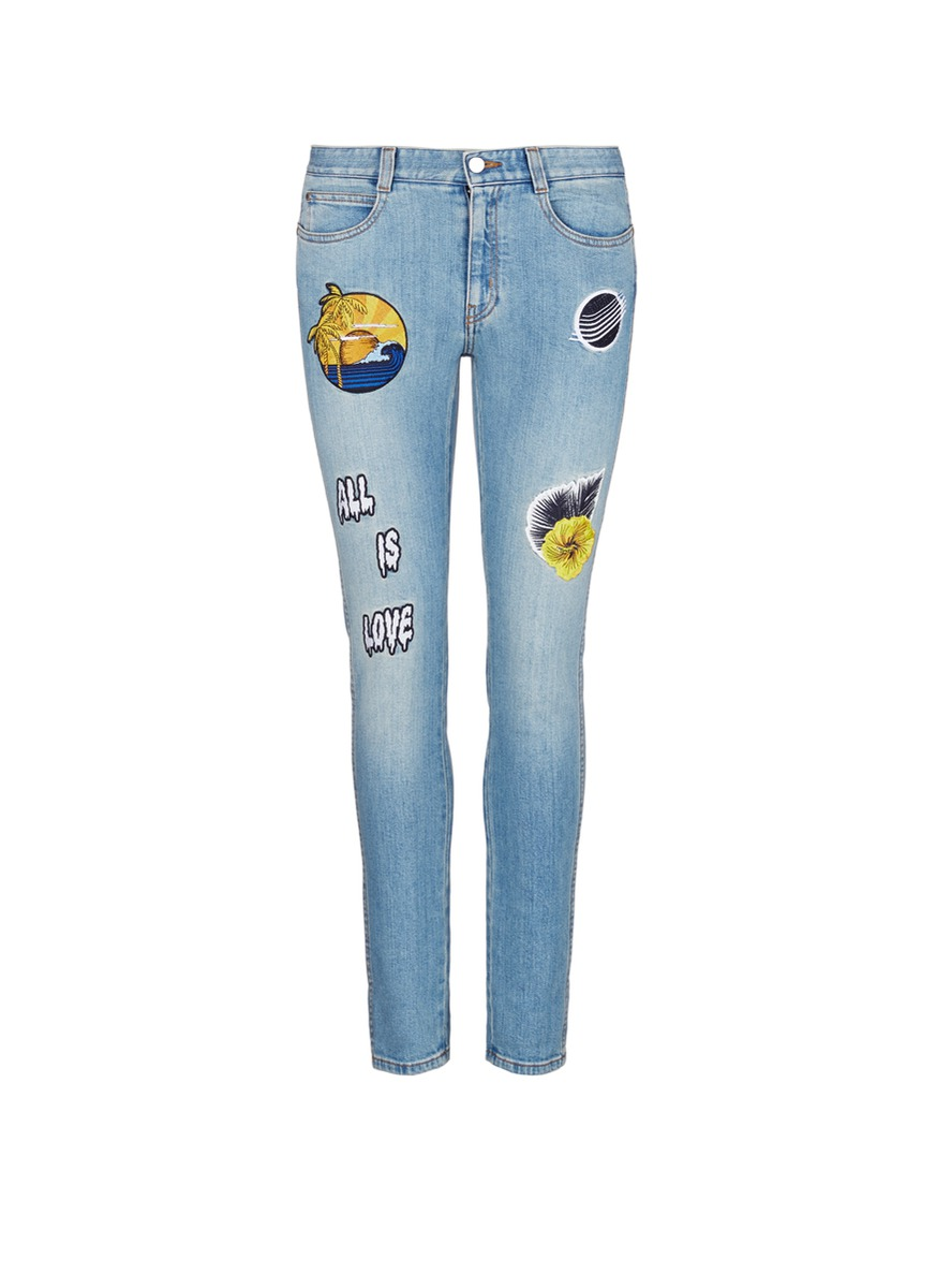 Surf embroidered patch cropped boyfriend jeans by Stella McCartney