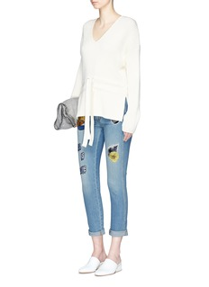 Stella McCartneySurf embroidered patch cropped boyfriend jeans
