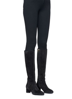 Stella Luna Turnlock zip knee high suede boots